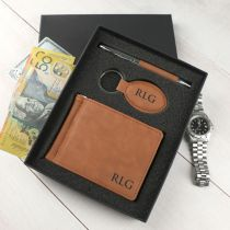 Personalised Engraved Christmas Tan Leather Gift Set that includes Pen, Keyring & Wallet Present