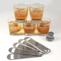 Personalised Engraved 5 Groomsman, Best Man and Groom Scotch glasses and Matching bottle openers