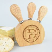 Personalised Engraved Father's Day Cheese Knife Block Set Present
