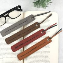 Personalised Engraved Father's Day Grey, Dark Brown, Tan, Maroon Leather Bookmarks Present
