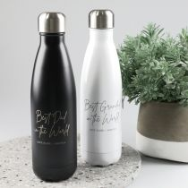 Personalised Engraved Father's Day Black and White Metal Water Bottles Present