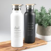 Personalised Engraved Father's Day Black & White Water Bottles With Wooden Lid Present