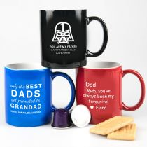 Personalised Engraved Blue, Black & Red Father's Day Mug Present