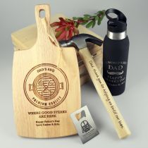 Personalised Engraved Ultimate Father's Day Hamper- paddle board, hammer, water bottle and credit card bottle opener