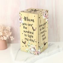 "Laser Cut ""Mum you are the sunshine to light my day"" Light Cube Mother's Day Gift"