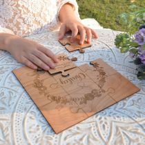 Custom designed laser cut and engraved flower girl wedding puzzle gift
