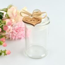 French tip glass wedding favour jars with engraved personalised wooden heart shape gift tags