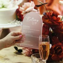 Personalised Engraved Frosted Acrylic Wedding Menus With Rose Gold Acrylic Base