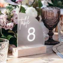 Personalised Engraved Frosted Acrylic Sail Wedding Reception Table Number with Wooden Base