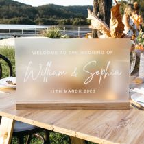 Personalised Engraved Acrylic Wedding Sign with Wooden Base