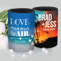 Full Colour Wrap Stubby Holder Personalised With Names For Wedding