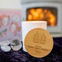 Personalised Engraved Wooden Lid Zodiac Soy Candle Gemini with Wood Wick