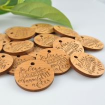 Personalise engraved to love laughter happily ever after wedding favour gift tag