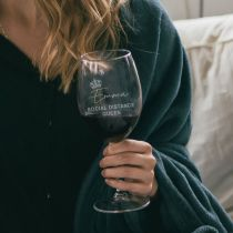 Personalised Engraved Social Distance Queen Wine Glass