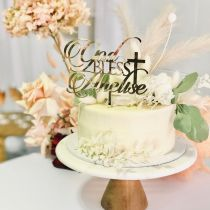 Custom Laser Cut God Bless Baby's Name Personalised Christening Baptism Gold Acrylic Cake Topper