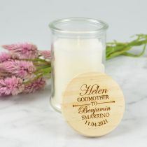 Personalised Engraved Godparent's Candle with wooden lid present for Christening, Baptism & Naming Days