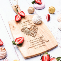 Personalised Engraved Godparent's Cheese Serving Chopping Paddle Board Present For Christenings, Baptisms and Naming Days