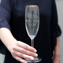 Engraved Gold Rimmed Wedding Champagne Glass Personalised for Bride Present