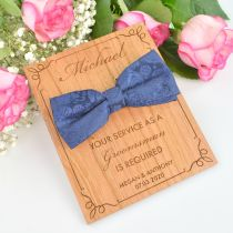 Personalised engraved bow tie wooden groomsman acceptance card