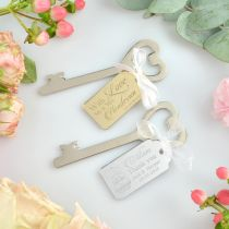 Engraved mirror acrylic gift tag with silver heart bottle opener