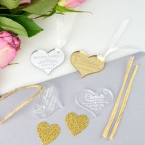 """Personalised Engraved Silver, Gold, Frosted & Clear Acrylic """"Heart"""" Christening, Baby Shower, Naming Day & Christening Gift Tags"""