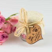 Hessian 45mL Wedding favour favour jars with personalised heart wooden tags