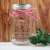 Personalised Engraved Christmas Mason Jar Ho Ho Ho Santa Present