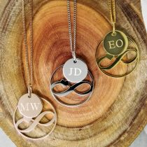 Personalised Engraved Heart Infinity Necklace with Engraved Initial Pendant Mother's Day Present