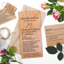 Engraved Personalised DL Wooden Wedding Invitations