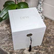 Personalised Engraved Large White Luxury Jewellery Box