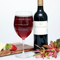 Personalised Engraved 745ml Birthday wine glass present labelled with recipient's name, large glass and small glass