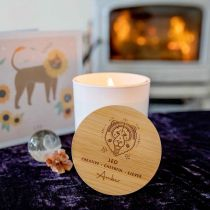 Personalised Engraved Wooden Lid Zodiac Soy Candle Leo with Wood Wick