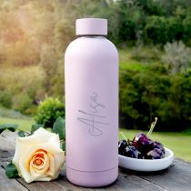 Personalised Engraved Name Purple Mauve Metal Stainless Steel Double Walled Insulated Water Sports Drink Bottle Mother's Day Gift