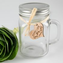 Mason jar with engraved wooden gift tag for wedding favours
