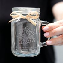 Engraved Wedding Mason Jar