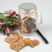 "Personalised Engraved ""30 Reasons Why I Love You"" Jar with Wooden Hearts Mother's Day Present"
