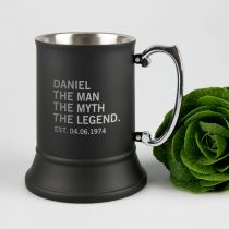 Personalise Engraved Black Matte The Man, The Myth The Legend Metal Ber Mug Birthday Present