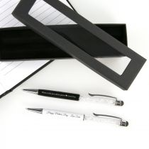 Personalised Engraved Mother's Day Black & White Crystal Pen with Gift Box  Present