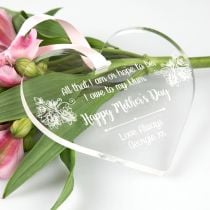 Personalised Engraved Mother's Day Clear Acrylic Heart Decoration Present