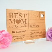 Personalised Engraved Wooden Mother's Day Postcard with Stand Present