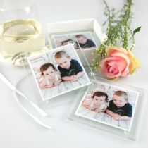 Personalised Colour Printed Christmas Photo Glass Coaster Set Present