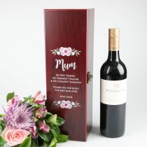 Personalised Engraved Mother's Day Dark Stained Wine Box Set Present