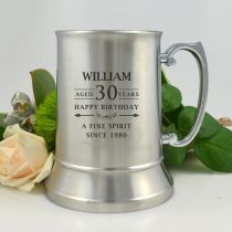 Personalised Engraved 30th Birthday Silver Metal Beer Mug Present