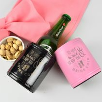 Personalised Engraved Black & Pink Metal Stainless Steel Bridesmaids and Groomsman Beer Stubby Holders Gift