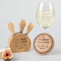 Personalised Engraved Mother's Day 'Me Time' Hamper Present- Wine glass, wooden Coaster and cheese knife set