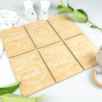 Personalised Printed Bamboo Milestone Cards Set of 6