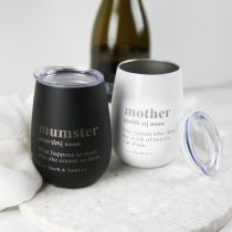 Personalised Engraved Black and White Mother's Day Wine Sipper Present