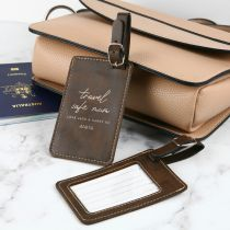 Personalised Engraved Mother's Day Brown Leather Travel Bag Tag Present