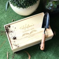 Personalised Mother's Day Engraved Wooden Garden Box Kit Present
