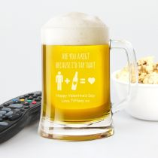 Personalised Engraved Valentine's Day Glass Beer Mug Present